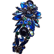 D&E Blue Rhinestone Hinged Bracelet