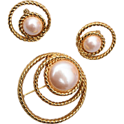 Monet Faux Pearl Brooch and Earring Set