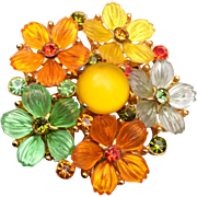 SALE Colorful Molded Lucite Glowing Flower Brooch