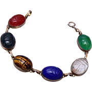 Gold Filled Natural Stone Scarab Bracelet