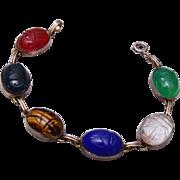 White Gold Filled Natural Stone Scarab Bracelet