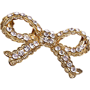 SALE Wendy Gell Pierced Metal Bow Brooch With Rhinestones