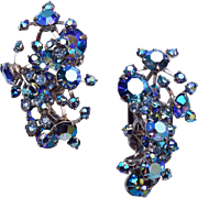 Warner Blue AB Rhinestone Earrings