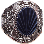 Whiting and Davis Large Hinged Bangle Bracelet