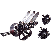 SALE Hobe' Sterling Flower Brooch and Earring Set