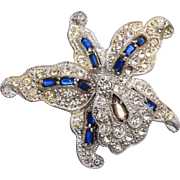 SALE Blue Trembler Orchid Brooch