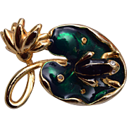 Enameled Frog on Lilly Pad Trembler Brooch