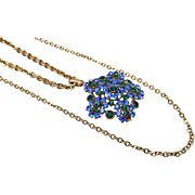 Lisner Blue and Green Rhinestone Necklace