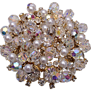 D&E Crystal and Faux Pearl Cha Cha Brooch