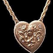 SALE Art Nouveau Style Heart Necklace with Rhinestones