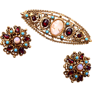 SALE Florenza Cameo Brooch & Earring Set With Turquoise and Garnets