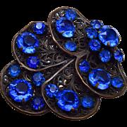 Blue Rhinestone and Filigree Dress Clip
