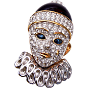 SALE Swarovski Enameled Front and Back Crying Clown Face Brooch
