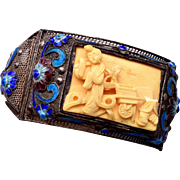 SALE Chinese Filigree and Enamel Bracelet with Carved Front Panel