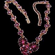 SALE Jayflex Sterling Pink and Purple Rhinestone Necklace
