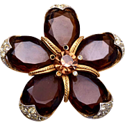 SALE ART Unfoiled Brown Rhinestone Star Brooch