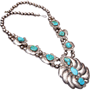 Lee Thompson Navajo Sterling and Turquoise Necklace