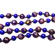 SALE Venetian Glass Blue Wedding Cake Beaded Necklace