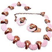 1950's Matisse – Pink Enamel Necklace and Earrings with Original Tag