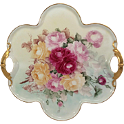 Vintage Haviland Limoges Handled Tray Hand Painted Roses Artist Signed & Dated 2907