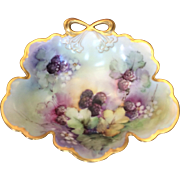 Vintage Bavarian Porcelain Berry Bowl Hand Painted Blackberries Artist Signed