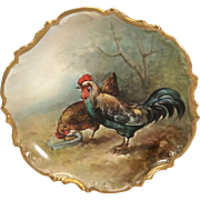 Vintage Limoges Charger Hand Painted Rooster & Chicken Artist Signed
