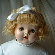 """SOLD 24"""" Life Size American FLIRTY EYE Doll With Original Blonde Mohair Wig and WORKING C"""