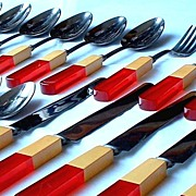 SOLD MAGNIFICENT Vintage BAKELITE Kitchenware Flatware TWO-TONE Bakelite & Lucite Signed COMPL