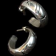 SALE VINTAGE Sterling Silver HOOP Earrings STAR Pierced Open-work Motif