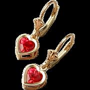 SOLD Vintage Genuine 10K Gold RUBY Heart EARRINGS Drops Dangles Leverbacks Crown Tops SIGNED H