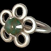 SALE Vintage NATIVE American Sterling Navajo Ring BLOODSTONE Gemstone Handcrafted Flower Motif