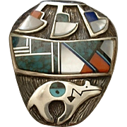 SALE RARE Vintage Native American Sterling NAVAJO Brooch Overlay, Inlay MOSAIC Turquoise, Lapi