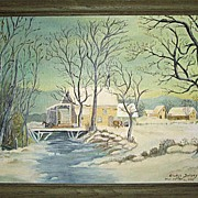 Two Folk Art Oil Paintings On Canvas By Gladys Daisey