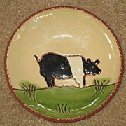 Redware Plate With A Pig