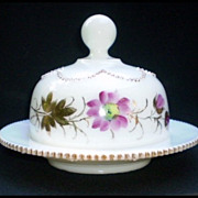 """SALE Heisey """"Beaded Swag – Opal"""" Covered Butter Dish"""
