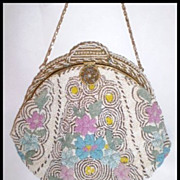 REDUCED Victorian Floral Beaded Purse - Late 1800's