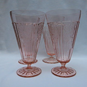SOLD Mayfair Open Rose Pink Depression Footed Tumblers - Set of Four (4)