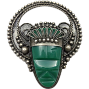 Sterling Silver Jade Face Mask Mayan Aztec Brooch