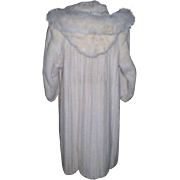 SOLD White Full Length Mink Coat with Detachable Hood