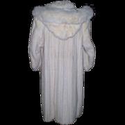 SOLD White Full Length Mink Coat with Detachable Hood