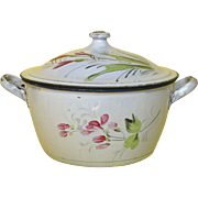 French Enamel Graniteware Cooking Pot - Hand-Painted Floral Designs