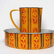 REDUCED French Enamelware Pitcher & Basin Set in Fantastic Rich Colors