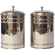 Pair of Vintage French Chrome Plated Kitchen Canisters - Coffee & Chicory