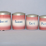 SALE PINK shaded French Enamelware Canisters - Rare Aluminum Lids