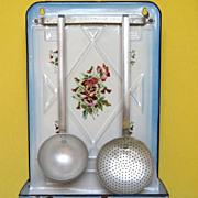 SOLD Antique Floral Japy Enamelware Utensil Rack with Utensils