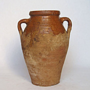 REDUCED 19th Century French Glazed Earthenware Jar - Confit Pot