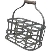 SOLD Very Vintage French Metal Wine Bottle Carrier - Wine Caddy