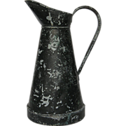Vintage French Zinc Pitcher - Shabby Chic Appeal