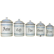 Set of Five Graniteware Kitchen Canisters - early 1900s