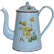 French Enamel Hand-painted Floral Graniteware Coffee Pot